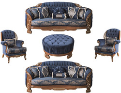 Casa Padrino luxury baroque living room set blue / brown - 2 Sofas & 2 Armchairs & 1 Coffee Table - Ornate Living Room Furniture in Baroque Style