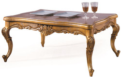 Casa Padrino luxury baroque coffee table antique gold 100 x 90 x H. 45 cm - Living room table with glass top - Baroque Style Living Room Furniture