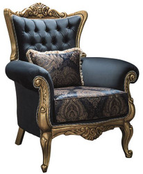 Casa Padrino luxury baroque armchair with rhinestones and decorative pillow blue / gold 90 x 85 x H. 110 cm - Baroque Furniture