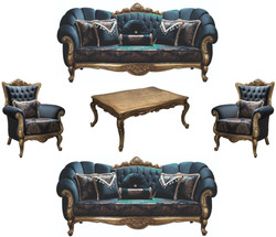 Casa Padrino luxury baroque living room set blue / gold - 2 Sofas & 2 Armchairs & 1 Coffee Table - Living Room Furniture - Noble & Ornate