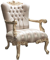 Casa Padrino luxury baroque armchair with rhinestones beige / gold 80 x 85 x H. 117 cm - Living room furniture in baroque style - Noble & Ornate