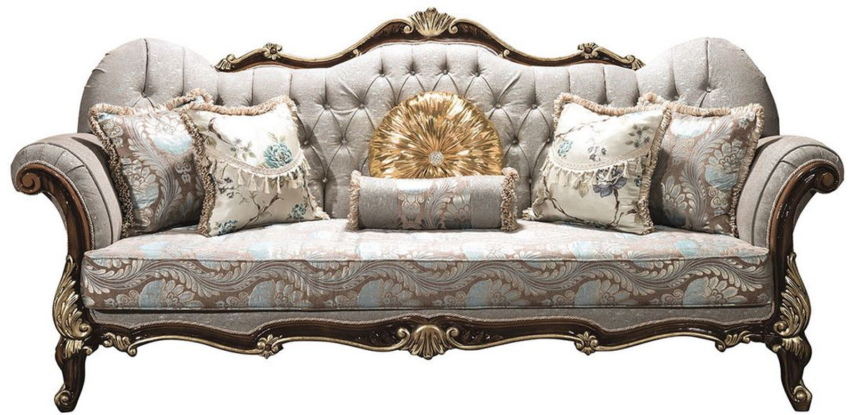 Casa Padrino Luxury Baroque Living Room Sofa With Rhinestones And Decorative Pillows Silver Gray Brown Gold 230 X 85 X H 120 Cm Baroque Furniture