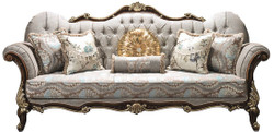 Casa Padrino luxury baroque living room sofa with rhinestones and decorative pillows silver gray / brown / gold 230 x 85 x H. 120 cm - Baroque Furniture