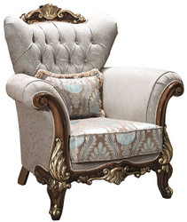 Casa Padrino luxury baroque living room armchair with rhinestones and decorative pillow silver gray / brown / gold 112 x 83 x H. 115 cm - Baroque Furniture