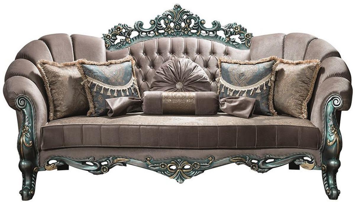 Casa Padrino Luxus Barock Samt Sofa Grau Grun Gold 225 X 95 X H 115 Cm Prunkvolles Wohnzimmer Sofa Mit Glitzersteinen Und Dekorativen Kissen
