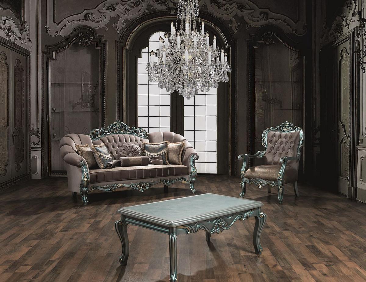 Casa Padrino Luxus Barock Sessel Grau Grun Gold 80 X 90 X H 122 Cm Prunkvoller Wohnzimmer Sessel Mit Glitzersteinen Barock Mobel