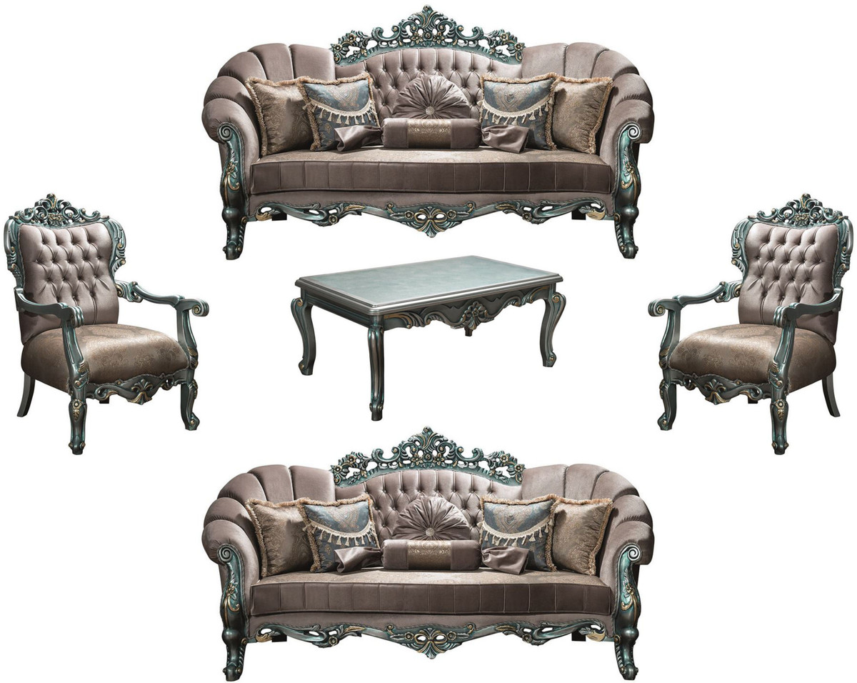 Casa Padrino Luxus Barock Wohnzimmer Set Grau Grun Gold 2 Sofas 2 Sessel 1 Couchtisch Wohnzimmermobel Im Barockstil Edel Prunkvoll
