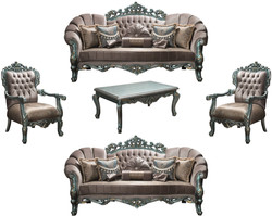Casa Padrino luxury baroque living room set gray / green / gold - 2 Sofas & 2 Armchairs & 1 Coffee Table - Living room furniture in baroque style - Noble & Ornate