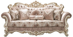 Casa Padrino luxury baroque sofa pink / white / gold 230 x 100 x H. 110 cm - Living room sofa with rhinestones and decorative pillows - Baroque Furniture