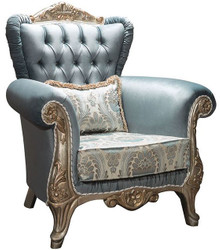 Casa Padrino luxury baroque armchair turquoise / antique silver 90 x 85 x H. 110 cm - Noble living room armchair with rhinestones and decorative pillow - Baroque Furniture