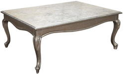 Casa Padrino luxury baroque coffee table antique silver 100 x 80 x H. 45 cm - Solid wood living room table with glass top - Furniture in Baroque Style