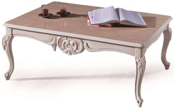 Casa Padrino luxury baroque coffee table cream / beige 90 x 70 x H. 50 cm - Noble living room table with glass top - Living room furniture in baroque style