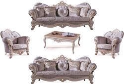 Casa Padrino luxury baroque living room set lilac / cream / beige - 2 Sofas & 2 Armchairs & 1 Coffee Table - Living room furniture in baroque style - Noble & Ornate