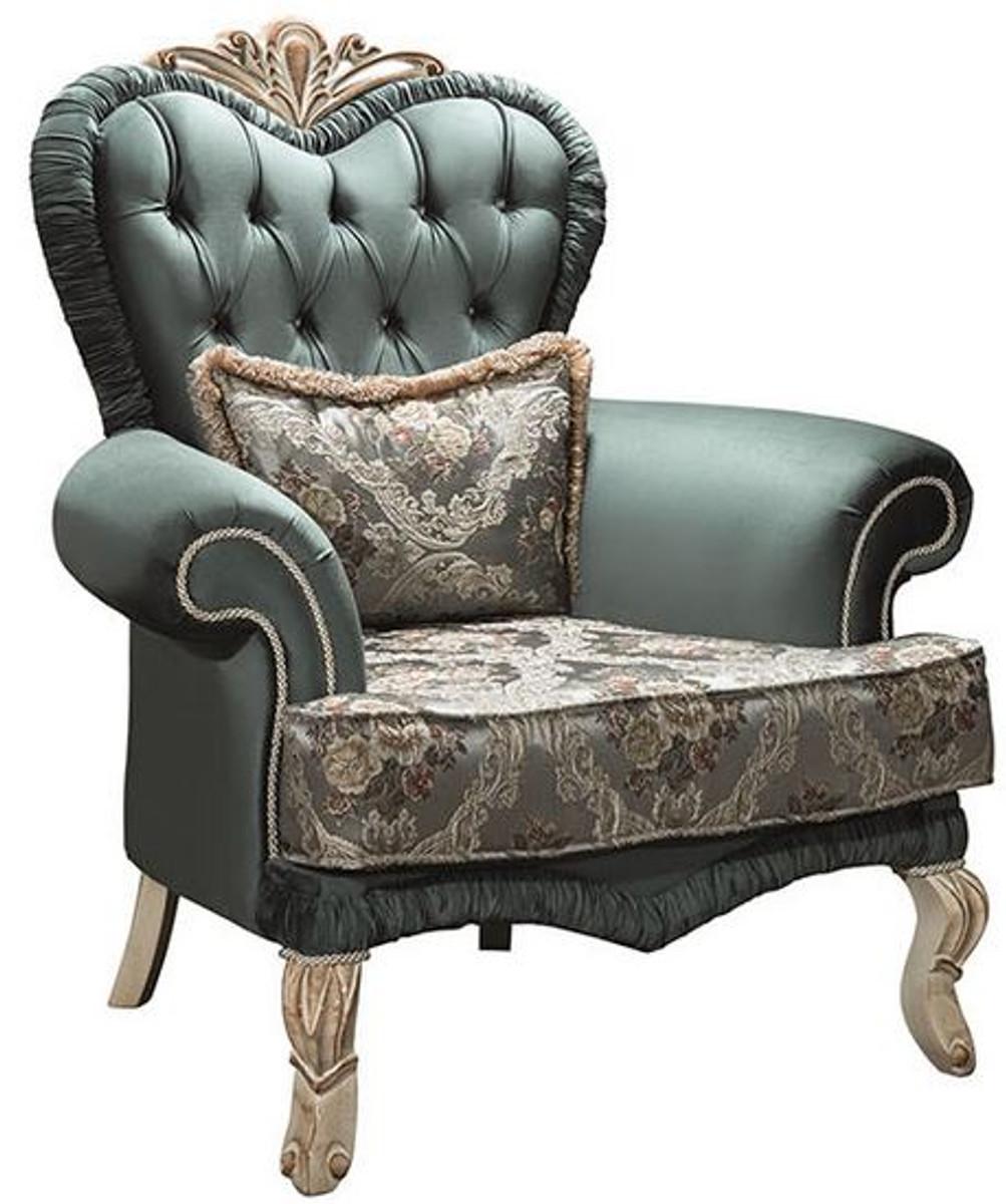 Casa Padrino Luxus Barock Wohnzimmer Sessel Mit Glitzersteinen Und Dekorativem Kissen Grun Creme Beige 100 X 80 X H 110 Cm Mobel Im Barockstil Barockgrosshandel De