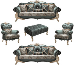Casa Padrino luxury baroque living room set green / cream / beige - 2 Sofas & 2 Armchairs & 1 Coffee Table - Living room furniture in baroque style - Noble & Ornate