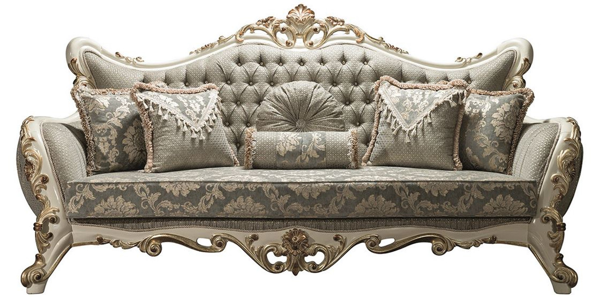 Casa Padrino Luxury Baroque Living Room Sofa Gray White Gold 235 X 95 X H 120 Cm Ornate Couch With Rhinestones And Decorative Pillows Noble Baroque Furniture