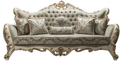 Casa Padrino luxury baroque living room sofa gray / white / gold 235 x 95 x H. 120 cm - Ornate couch with rhinestones and decorative pillows - Noble Baroque Furniture
