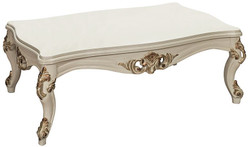 Casa Padrino luxury baroque living room table white / gold 115 x 80 x H. 50 cm - Noble solid wood coffee table in baroque style - Baroque Living Room Furniture