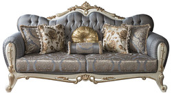 Casa Padrino luxury baroque living room sofa with rhinestones and decorative pillows blue / white / gold 220 x 85 x H. 110 cm - Noble Living Room Furniture in Baroque Style