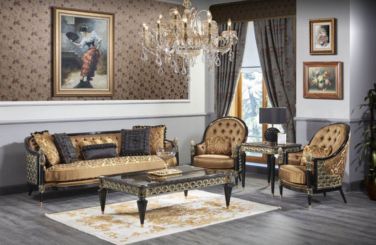 Casa Padrino Luxury Baroque Living Room Set Gold Black 1 Sofa 2 Armchairs 1 Coffee Table 1 Side Table Ornate Baroque Furniture Luxury Quality Made In Italy