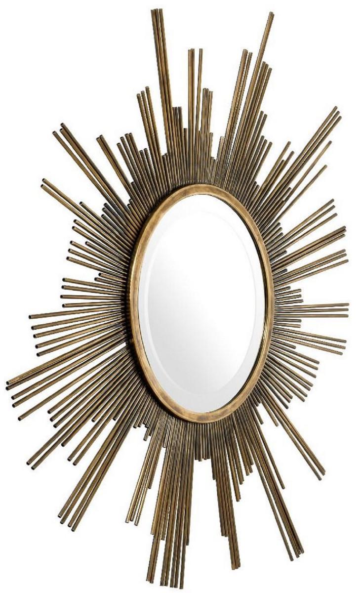 Casa Padrino Designer Spiegel Vintage Messing Ø 10 cm - Garderobenspiegel -  Wohnzimmer Spiegel - Luxus Wandspiegel