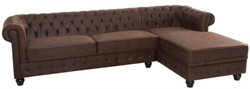 Casa Padrino Chesterfield corner sofa vintage brown 280 x 165 x H. 73 cm - Faux leather living room sofa - Chesterfield Furniture