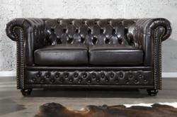 Casa Padrino Chesterfield living room sofa 150 x 85 x H. 75 cm - Faux leather 2 seater couch - Chesterfield Furniture