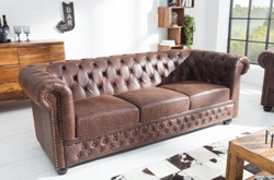 Casa Padrino Chesterfield sofa vintage brown 200 x 85 x H. 70 cm - Faux leather 3 seater couch - Chesterfield Living Room Furniture