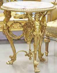 Casa Padrino luxury baroque side table gold / white - Ornate round bronze table with marble top - Baroque Living Room Furniture