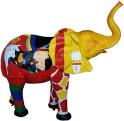 Casa Padrino designer decoration figure elephant multicolor 160 x H. 160 cm - Huge decoration sculpture - Living room decoration - Garden decoration