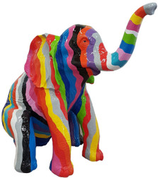 Casa Padrino designer decoration sculpture sitting elephant multicolor H. 140 cm - Decoration animal figure - Huge Garden Decoration Figure
