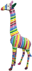 Casa Padrino designer decoration figure giraffe with stripes multicolor H. 205 cm - Huge decoration figure - Garden decoration sculpture - Garden Figure