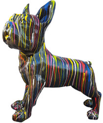 Casa Padrino designer decoration figure dog bulldog black / multicolor 178 x H. 178 cm - Huge decoration figure - Garden decoration sculpture - Garden Figure