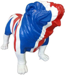 Casa Padrino designer decoration figure dog bulldog with UK England flag blue / white / red 180 x H. 174 cm - Huge decoration figure - Garden decoration sculpture - Garden Figure