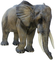 Casa Padrino decorative sculpture elephant gray / brown 410 x 155 x H. 223 cm - Huge life-size garden figure - Garden Decoration