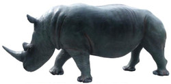 Casa Padrino decorative sculpture rhinoceros gray / blue 390 x 105 x H. 160 cm - Huge life-size garden figure - Garden Decoration