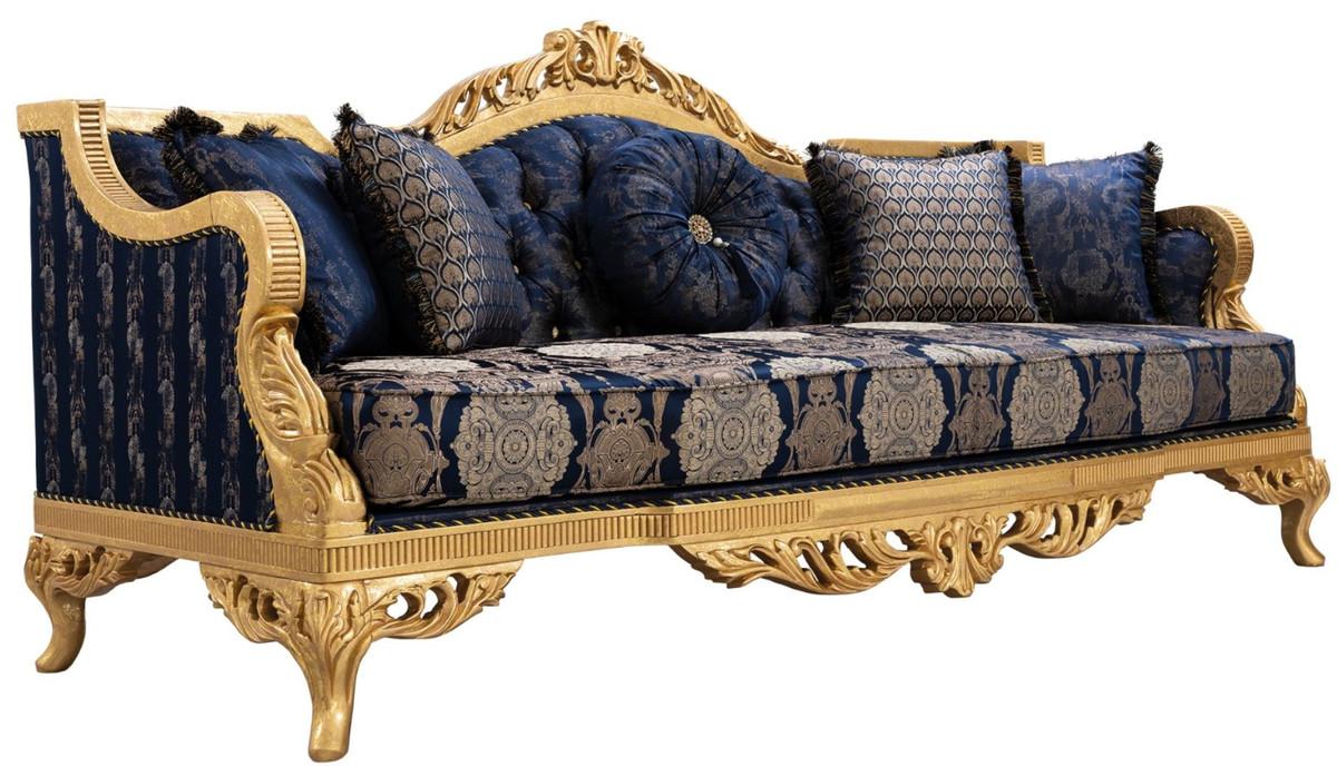 Casa Padrino Luxury Baroque Sofa With Rhinestones And Decorative Pillows Dark Blue Gold 228 X 93 X H 108 Cm Baroque Living Room Furniture