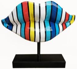 Casa Padrino designer decoration sculpture lips mouth with stand multicolor / black 55 x H. 45 cm - Designer Decoration Accessories