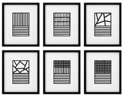 Casa Padrino luxury pictures set of 6 abstract art black / white 55 x H. 65 cm - Art prints - Wall art - Luxury Wall Decoration