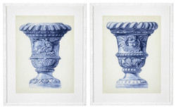 Casa Padrino luxury pictures set baroque vases blue / cream / white 64 x H. 79 cm - Art Prints - Wall Pictures - Wall Decoration - Decorative Accessories