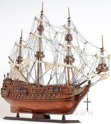 Casa Padrino luxury flagship Zeven Provincien with solid wood stand brown 93.2 x 29.8 x H. 80.5 cm - Handmade Decorative Wooden Ship