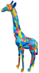 Casa Padrino designer decoration figure giraffe multicolor H. 205 cm - Huge decoration figure - Garden decoration sculpture - Luxury Garden Figure