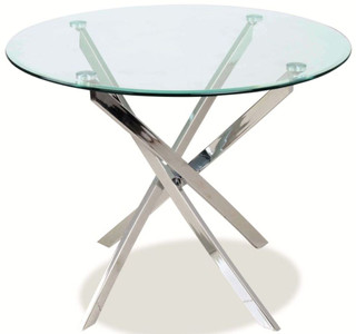 Casa Padrino luxury dining table silver Ø 90 x H. 75 cm - Modern round dining room table with tempered glass top and chromed metal table legs - Kitchen Furniture – Bild
