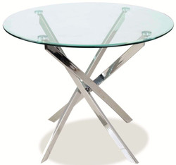 Casa Padrino luxury dining table silver Ø 90 x H. 75 cm - Modern round dining room table with tempered glass top and chromed metal table legs - Kitchen Furniture