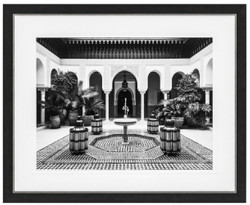 Casa Padrino luxury mural Living in Morocco black / white / gold 109 x H. 89 cm - Art print - Wall decoration - Decorative Accessories