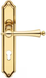 Casa Padrino Luxus Jugendstil Türklinken Set Messingfarben 13,5 x H. 26,3 cm - Edle Türgriffe mit Platten - Luxus Qualität - Made in Italy