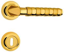 Casa Padrino Luxus Türgriff Set Gold 15,7 x H. 5,4 cm - Hochwertige Messing Türklinken mit Rosetten - Luxus Kollektion