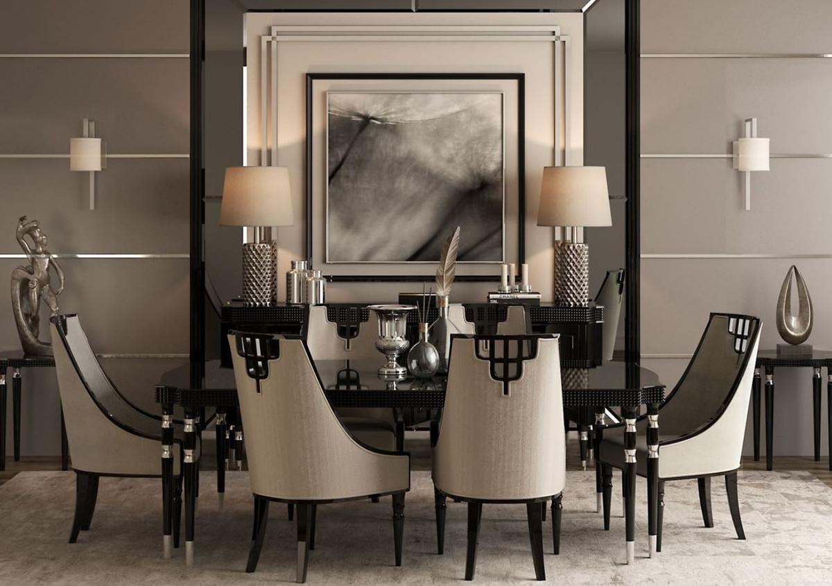 Tavolo Pranzo Art Deco casa padrino set da sala da pranzo art déco di lusso grigio / nero /  argento - 1 tavolo da pranzo e 6 sedie da pranzo - mobili per sala da  pranzo art