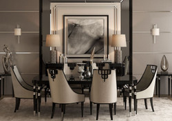 Casa Padrino Luxury Art Deco Dining Set Gray / Black / Silver - 1 Dining Table & 6 Dining Chairs - Art Deco Dining Furniture - Luxury Quality