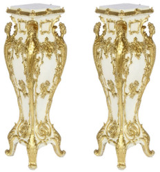 Casa Padrino baroque pillars set cream / gold 25 x 25 x H. 70 - Antique style pillars with marble slabs - Ornate Baroque Furniture